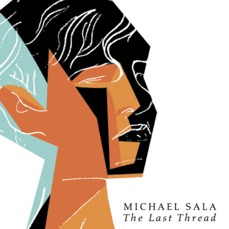 Artistic drawing of a persons head on book cover of The Last Thre by Michael Sala