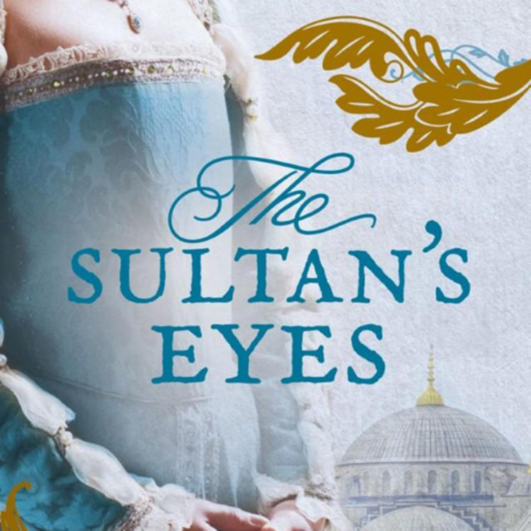 Woman standing in a period costume in front of an old building on book cover of The Sultan's Eyes by Kelly Gardiner