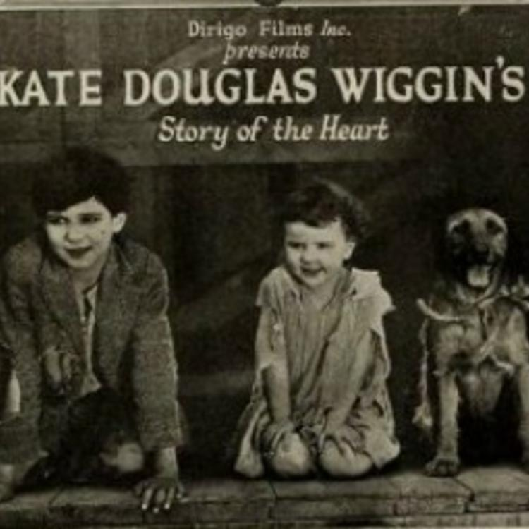 newspaper poster image of two children and their dog