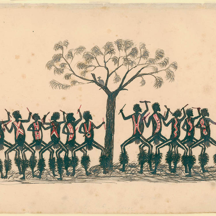 Drawing of men around a tree, sticking their arms in the air and holding a stick