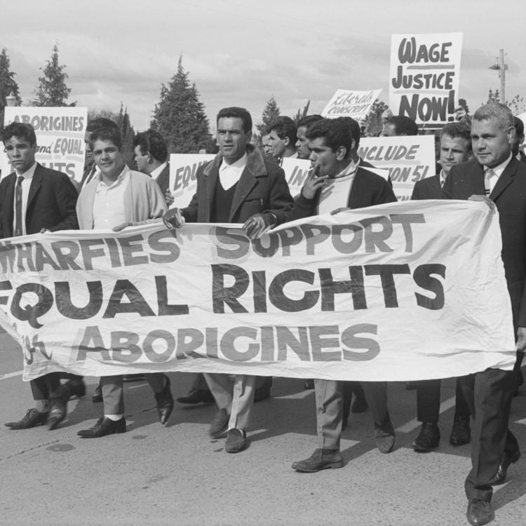 Chicka Dixon leads a march by Aboriginal wharf workers 1965
