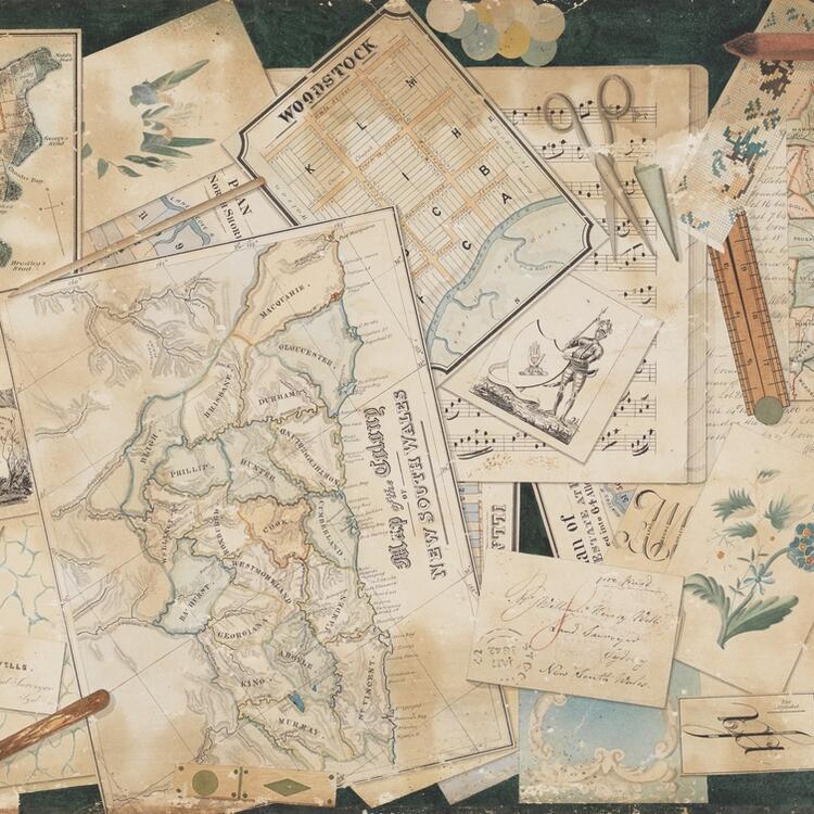 Trompe l'oeil of a surveyor's desktop / watercolour by William Henry Wells
