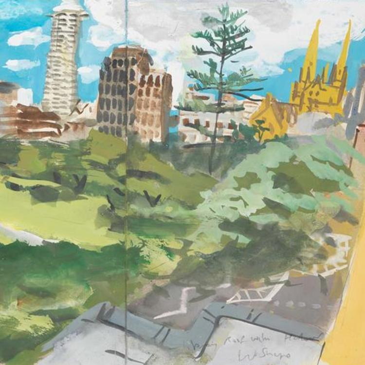 A painting showing a view of the Domain and surrounding cityscape as seen from the State Library of NSW.
