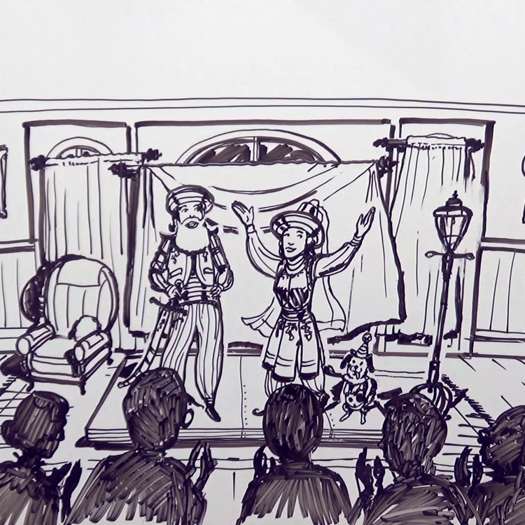 drawing of a performance on stage with audience watching
