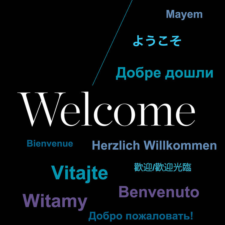 Welcome sign in community languages