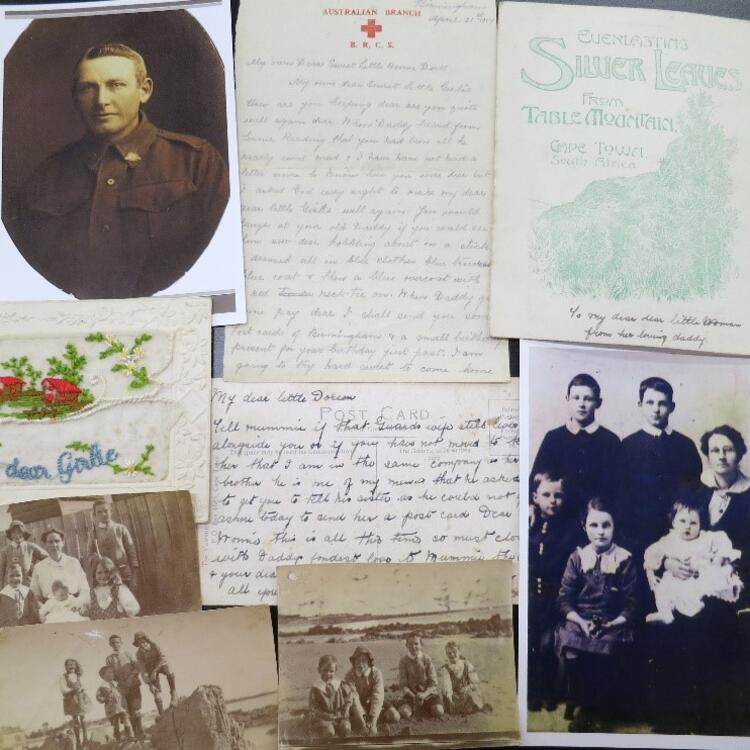 A selection of material William Brown sent back home to his family during the First World War.