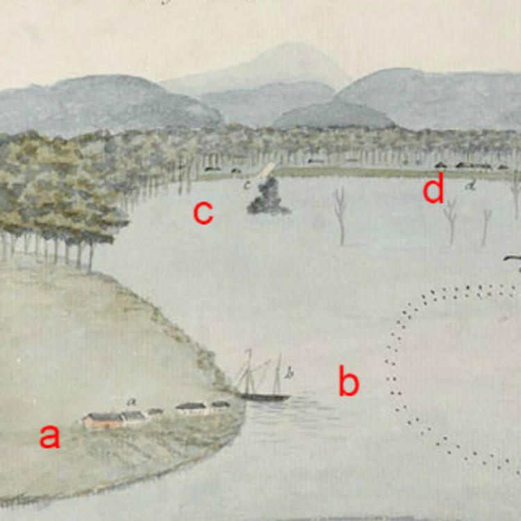 Section CD, Sketch of the Inundation in the Neighbourhood of Windsor taken on Sunday the 2nd of June 1816, By unknown, State Library of New South Wales, PX*D 264, (red letters added to aid orientation)