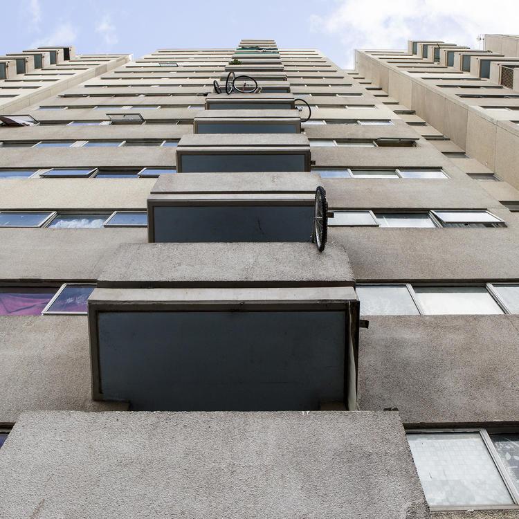 Façade with balconies of Daniel Solander Building, 180 Pitt Street, Waterloo, NSW, 29 June 2017