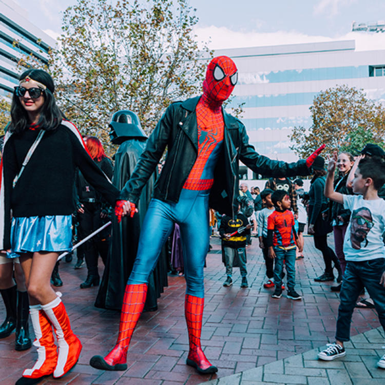 People dressed up as superheroes