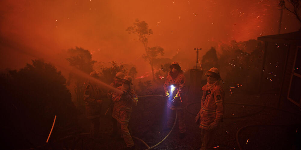 Fire fighters fighting a fire