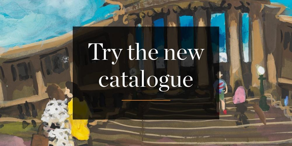 Wendy Sharpe painting of the Mitchell Library with the words: Try the new catalogue