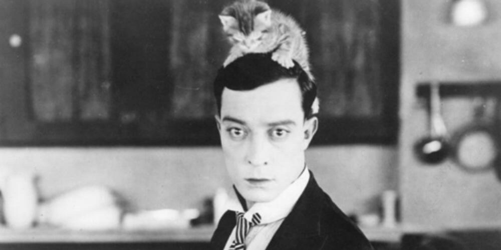 black and white image of a man with a kitten on his head