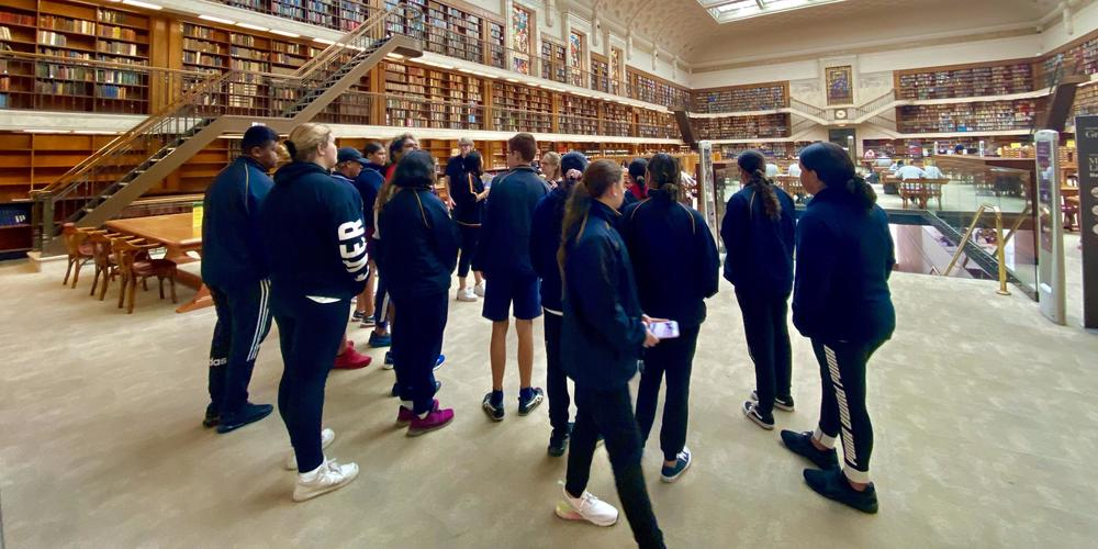 Students in the Mitchell Reading Room for collaboration with Sydney Story Factory and the National Aboriginal Sporting Chance