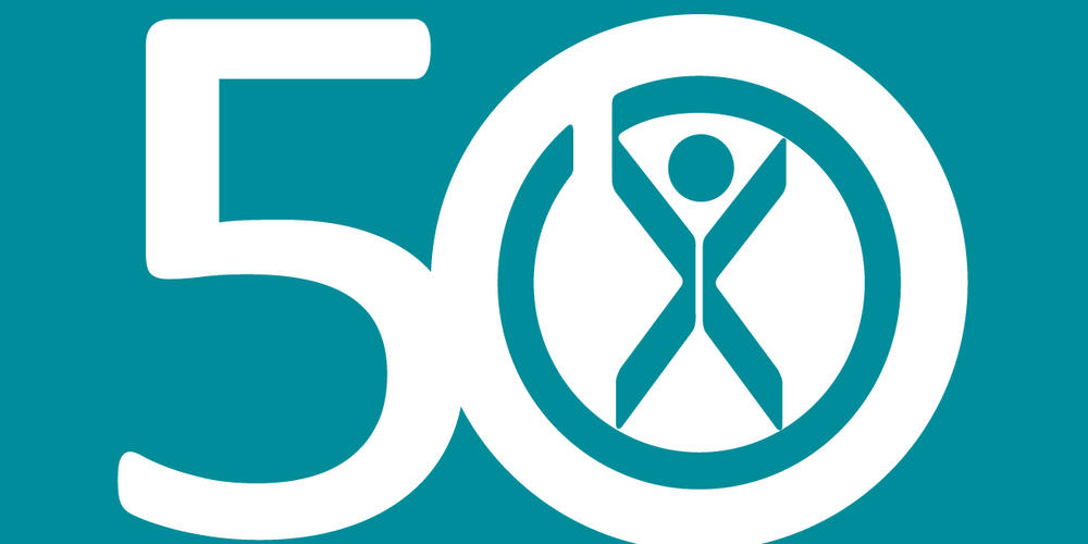 logo saying 50 years