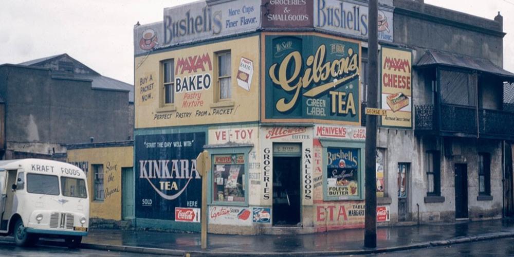 'U. Peters corner store, George Street, Waterloo' by Australian Photographic Agency, c 1956-1960.