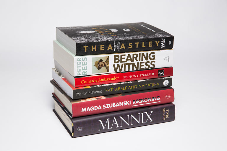 Stack of shortlisted books for the 2016 National Biography Award