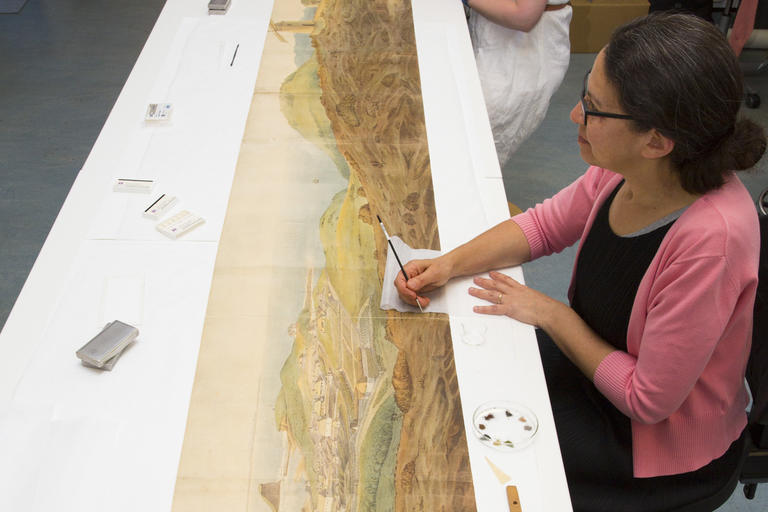 Collection care people work on Panorama of Newcastle