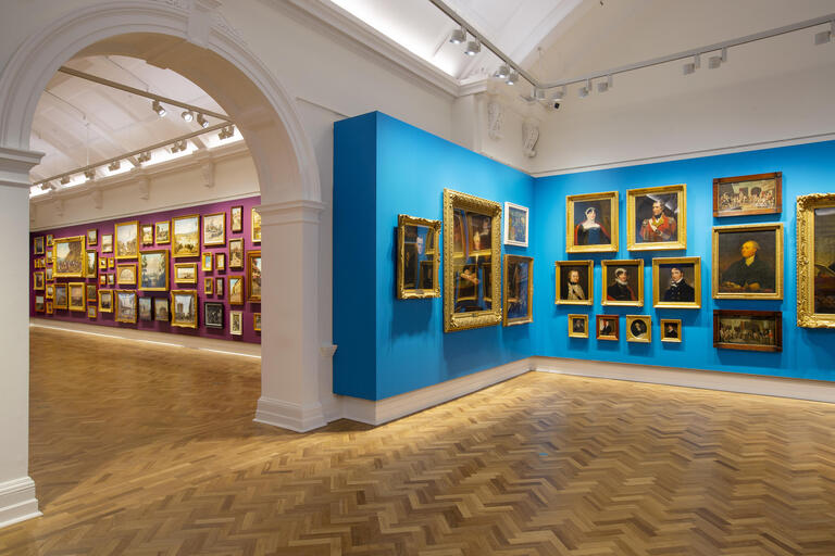 Oil paintings on display in the galleries at the State Library of NSW