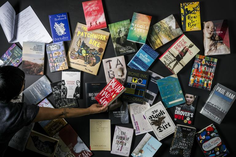 Looking from above, shortlisted books for the 2018 Premier's Literary Awards