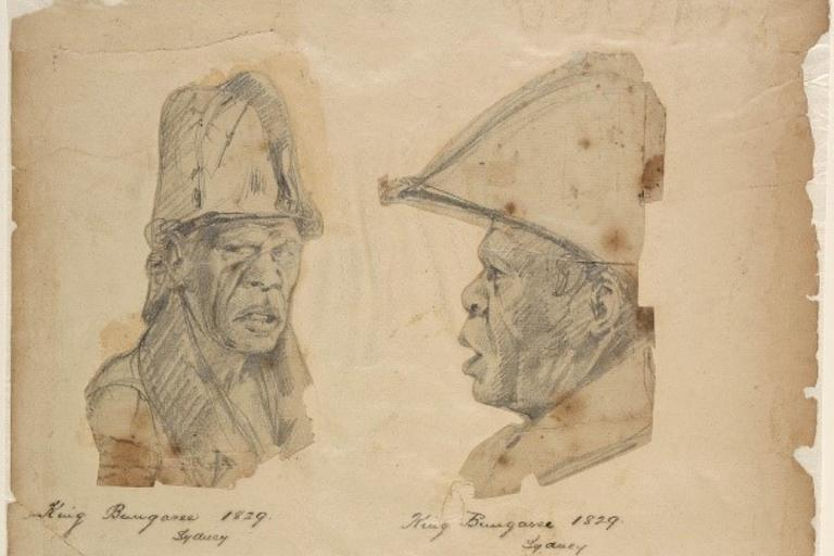 Drawing of Aboriginal man in profile and face on