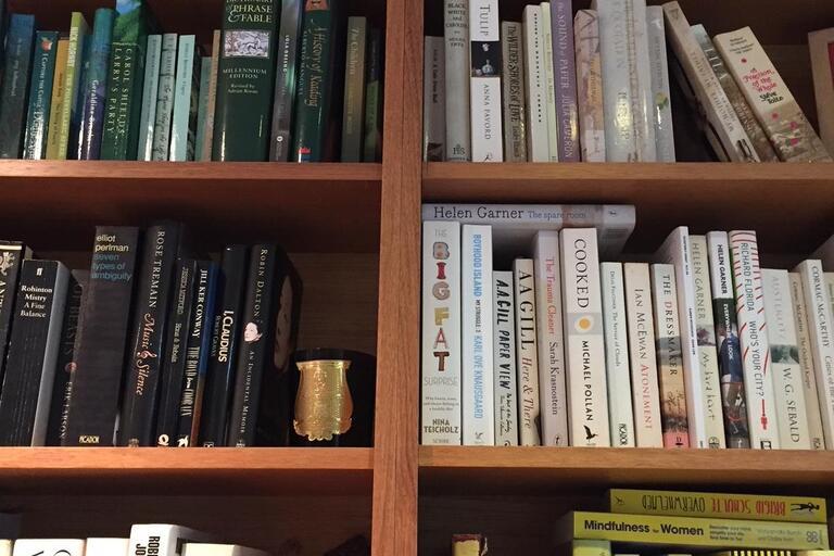 Caroline Baum, Reader in Residence, bookshelf