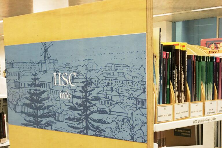 HSC information shelves with books