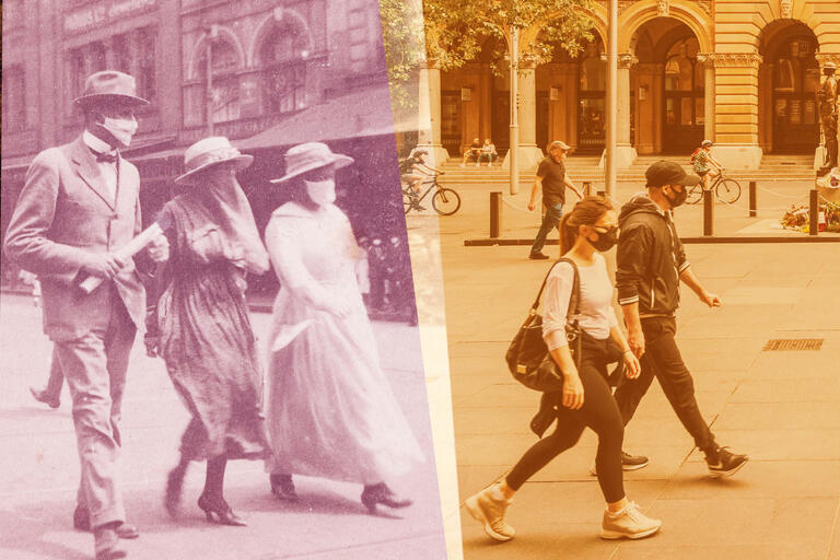 Historical and contemporary photographs of people wearing masks in the street, side by side.