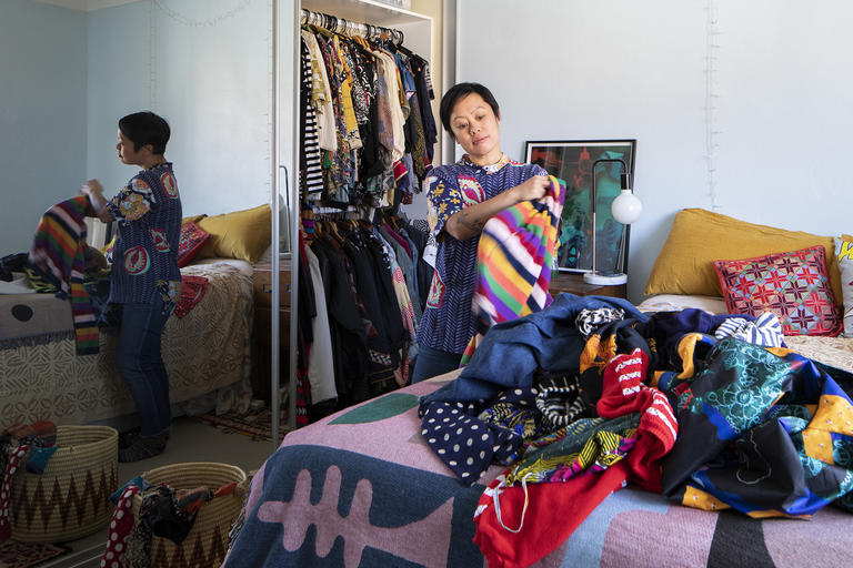 NSW at home. Joy Lai at home organising clothes during the COVID-19 pandemic 2020.