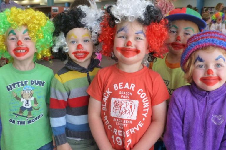 Four children dressed as clowns - Central West Libraries