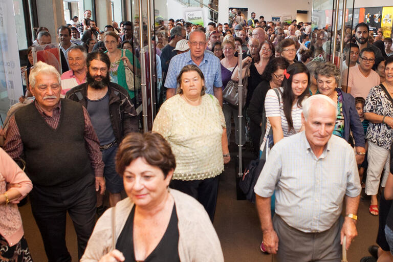 Customers entering Bankstown Library