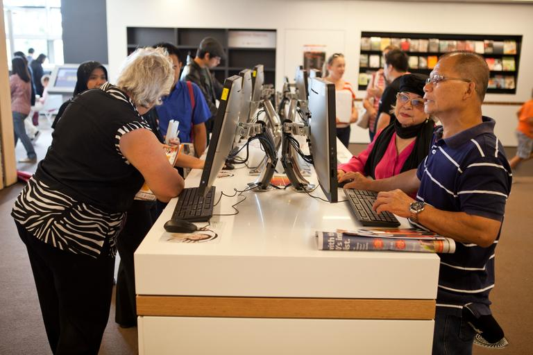 People using computers in library - Bankstown Library