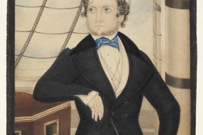 Portrait of an unidentified man [on board shop], April 1842, watercolour by Edmund Edgar