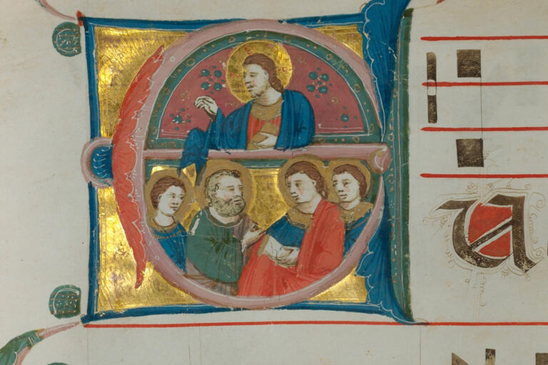 Illustration of Christ and saints