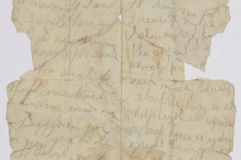 Letter fragment found on Lasseter's body