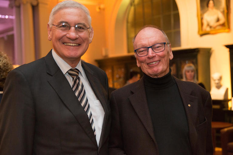 Library Council President George Souris with Dixson Medal winner Dr John Anthony Bell OBE AO