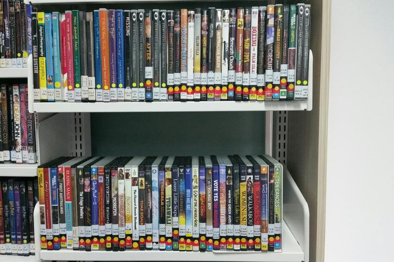 dvd on shelfs