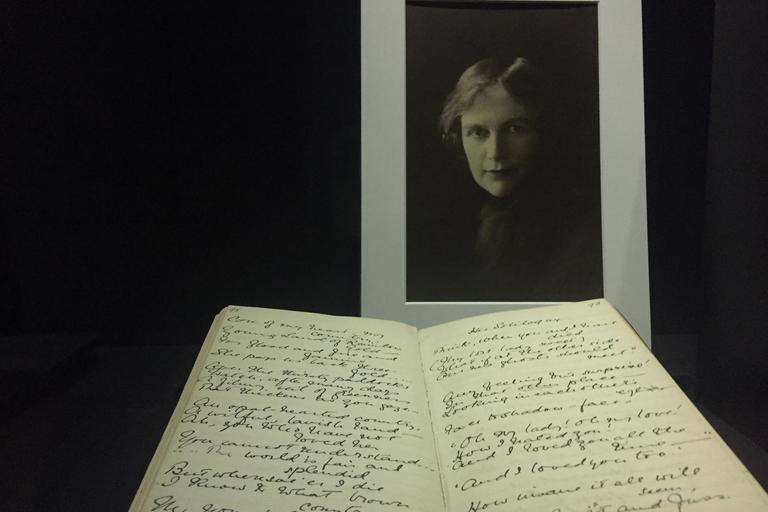 Image of manuscript of the poem My Country in front of an image of Dorothea Mackellar