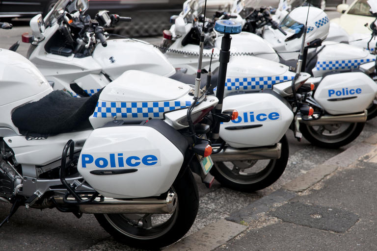 Close up of parked police motorcycles