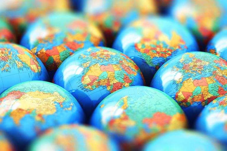 A number of small world globes