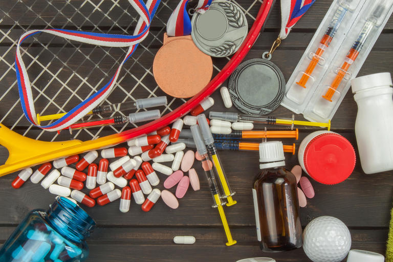 Mix of drugs, needles and sports paraphernalia
