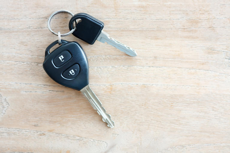 Car keys sitting on table