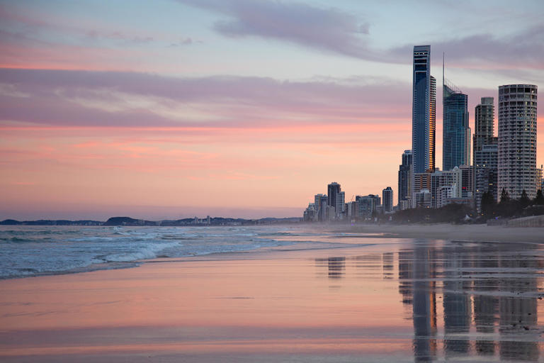 Gold Coast skyline and beach at sunset