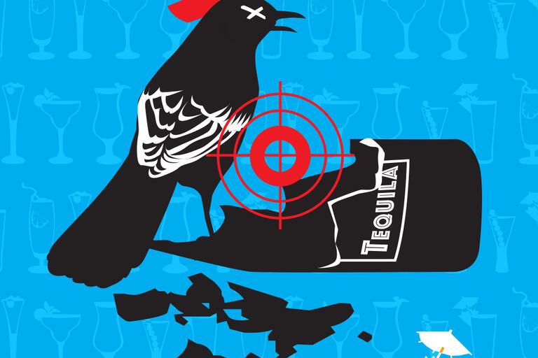 Mockingbird smashing a tequila bottle graphic