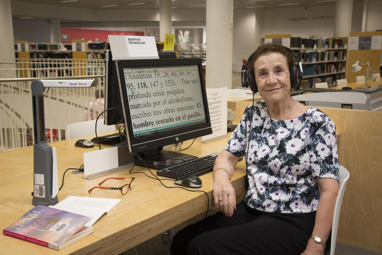 Mari-Paz Ovidi using the Readit Air in the Governor Marie Bashir Reading Room