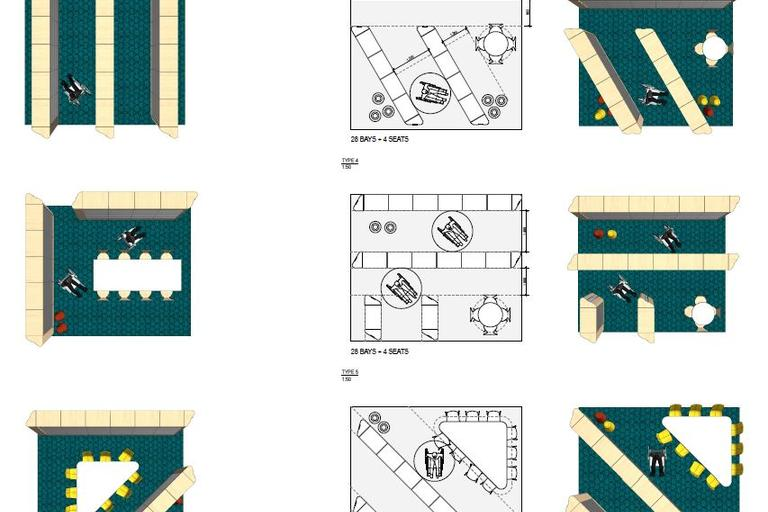 planning and layout diagrams for library building modules