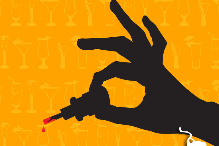 Graphic of hand holding a screwdriver with dripping red liquid