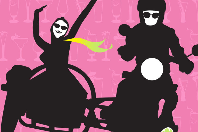 graphic of woman in sidecar and man on motorbike with glass in foreground