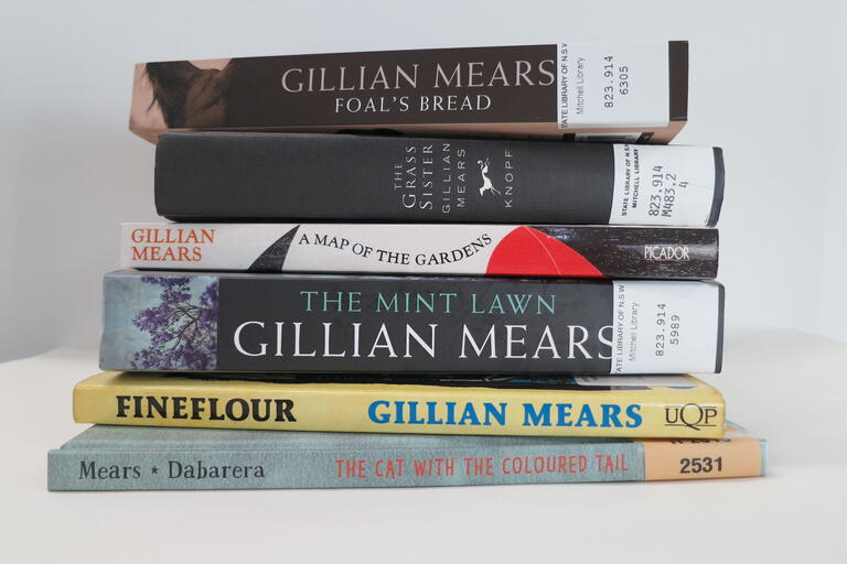A selection of Gillian Mears' novels and short stories in the State Library of NSW collection