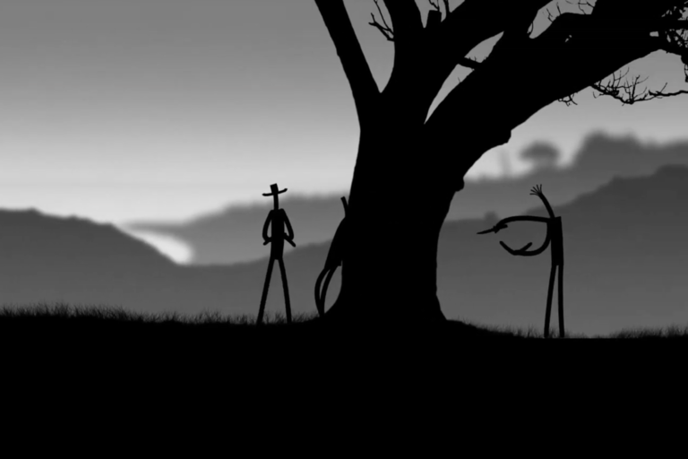 An animated video still of three figures holding boomerangs.