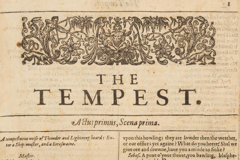 The Tempest William Shakespeare first folio title page